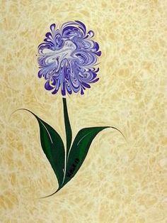 En Turquía, desde el siglo XVIII se pintan flores marmoleadas, no han dejado de hacerse nunca, porque la técnica se adapta maravillo...