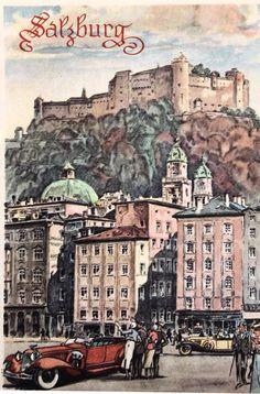 Alte Künstlerkarte Ansicht Salzburg Stadt Salzburg Austria, Europe, Vintage Travel Posters, Postcards, Places To Visit, To Go, Germany, History, Historical Pictures