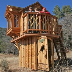 Dream Tree Loft Playhouse. Features a Plexiglas picture window, and a bay window and seat with custom cushions. I'd spring for this one...