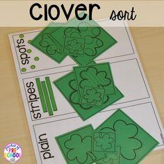 St. Patrick's Day shamrock sorting plus FREE ten frame shamrock cards for preschool, pre-k, and kindergarten. A fun way to practice sorting.