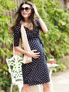 On trend navy and beige polka dot maternity wrap dress.  Perfect trans seasonal item. http://maternitywearnewcastle.com.au/category/nursing_dresses/