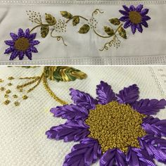 Kurdele nakışı havlu kenarı Ribbon Embroidery Tutorial, Silk Ribbon Embroidery, Hand Embroidery Designs, Embroidery Needles, Embroidery Jewelry, Kutch Work, Brazilian Embroidery, Ribbon Art, Knitting Socks