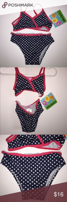 New Red Navy Blue White Polka Dot Bikini Sz 24 mon New Red Navy Blue White Polka Dot Bikini Sz 24 months by Baby Buns Inc. Such a cute swimsuit for upcoming Holidays. Note*** very hard to take pictures of due to the bikini and top being attached by plastic tags. Didn't want to cut them as this swimsuit is Brand New with Tags. Baby Buns Swim Bikinis
