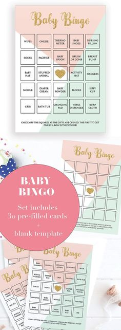 Printable Baby Shower Game Cards by LittleSizzle. A fun Baby Shower game for large groups. Play Bingo with these soft pastel Baby Bingo cards. The set has everything you need to play Baby Bingo in multiple ways. A blank card to be filled in by your guests, 30 different pre-filled cards to make things easy and an editable PDF template for you to fill in with your own gift ideas. #babyshowerideas #babyshowergames #babyshowerthemes #babybingo #pinkandgold #pastel #printable #DIY