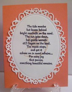 I think this verse is so appropriate for sympathy cards. It works perfectly with the nautilus shell from the stamp set By the Sea 2 by Theresa Momber for Gina K Designs Verses For Sympathy Cards, Sympathy Card Sayings, Sympathy Messages, Nautical Cards, Card Sentiments, Get Well Cards, Scrapbook Cards, Scrapbooking, Greeting Cards Handmade