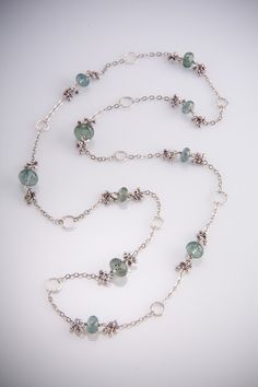 Jax Necklace with Moss Aquamarine by augustninedesigns on Etsy, $295.00