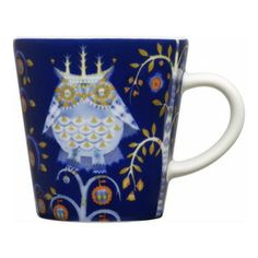 Iittala - Taika Espresso Cup, Blue - You'll really want to linger over espresso served in this charming cup. The adorable owl print seems to...