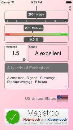 Mendis        iOS Universal Free until December 7th 2014 !! Calculates a grade from a number of mistakes. Evaluate dictations with ease. The strength and the number of words are adjustable.  Mendis offers grade systems for countries: US, DE, AT, CH, CN, SK, BR, PT, PL, ES, SE, FI, CZ, FR, NL, BE, UA, HU, IT, IL, SI, NO, GB, LU, DK, RU  Each conversion list is exportable as PDF-Document.  5MB