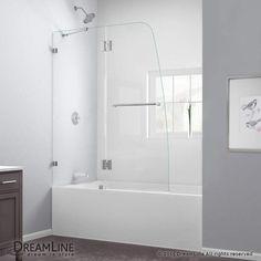 "DreamLine SHDR-3348588 AquaLux 58"" High x 48"" Wide Hinged Frameless Shower Door Chrome Showers Shower Doors Swing"