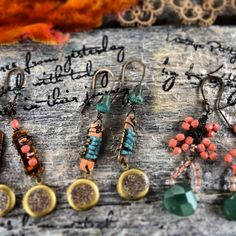 Tiny lockets of love ~ loved making these earrings ~ Vintage Pretty by Kathy jo