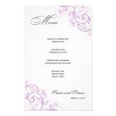 Elegant Purple Floral Wedding Menu