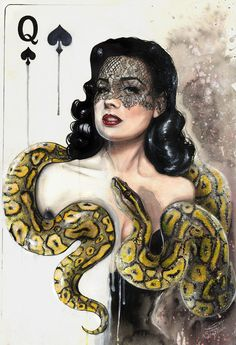The Queen of Spades by ~TanyaShatseva on deviantART (Dita Von Teese)  | First pinned to Celebrity Art Board here- http://pinterest.com/fairbanksgrafix/celebrity-art/  #Art #CelebrityArt