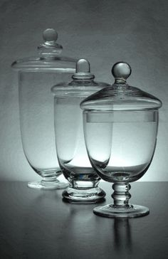 "Apothecary Jars Set of 3 Glass 10-3/8"" - 8"" - 7-1/2"" - for the candy/sweets table"