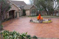 Patterned Concrete by REY Plano, TX Circle Driveway Landscaping, Circular Driveway, Driveway Ideas, Pattern Concrete, Concrete Resurfacing, Water Based Stain, Concrete Driveways, Backyard Patio Designs, Landscaping Supplies