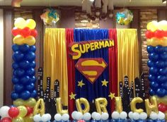 superman stage decor Superman Birthday Party, Superhero Party, Boy Birthday Parties, Superman Party Decorations, Birthday Party Decorations, Party Themes, Party Ideas, Superman Baby Shower, Adoption Party