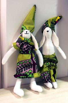Grazy rabbits made of recycled fabrics. Is this really an academic library?   #library recyling #recycled materials #library decoration
