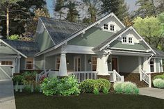 Ive been obsessed with craftsman style homes for many years. Our craftsman style home design idea focuses on the distinctive front porch wi. Craftsman Farmhouse, Craftsman Exterior, Craftsman Style House Plans, House Paint Exterior, Cottage House Plans, Craftsman Bungalows, Bedroom House Plans, Farmhouse Plans, Cottage Homes
