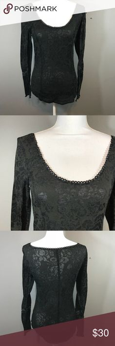 "Intimately Free People Floral Sheer Top ▪️Details: Intimately Free People Black Floral Sheer Long Sleeve Lace Panel Sleeves Blouse Top Scoop Neck Shirt ▪️Size: M ▪️Fabric: Cotton, Polyester ▪️Measurements: Length: 25.5"" Pit to Pit: 16.5"" 📍Ships from Los Angeles, CA  📬Ships within 1-2 business days  #257A Free People Tops Tees - Long Sleeve"