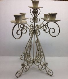 1950 Mid Century This candle holder is a Mid Century White 6 spot Candle Holder Home Decor very rare... Wing nut at bottom.