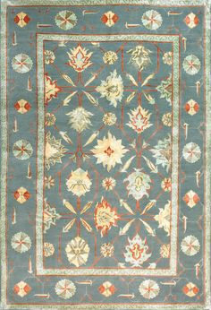 Palmettes, light teal – This collection combines traditional patterns with a modern day aesthetic to create perfect designs for a transitional style.  These classically refined and ethically crafted Tibetan rugs combine the unique style and unequaled craftsmanship that New Moon is best known for.