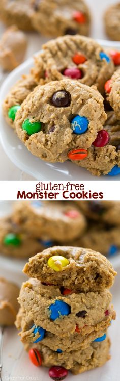 Gluten Free Monster Cookies are full of peanut butter, gluten free oats, and candy. No one will miss the gluten!