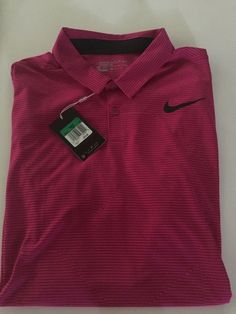 84f9e44a Nike Golf Mens Mobility Jacquard Dri-Fit Polo Shirt Fuchsia/Pink/Black New