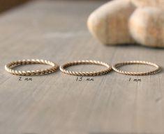 """Ehering Gold Ring Stapeln Ring drei breiten zur Auswahl--gewunden """"gewunden"""""""