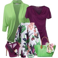 A fashion look from May 2015 featuring green cardigan, purple t shirt and white skirt. Browse and shop related looks. Polyvore Outfits, Komplette Outfits, Stylish Outfits, Fashion Outfits, Church Fashion, Work Fashion, Modest Fashion, Retro Fashion, Fashion Beauty
