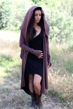 ···~<<✦✥ DESIGN ✥✦>>~··· Beautiful and versatile wrap cardigan. It has a generous big hood and extra long sleeves with fun thumb holes for a cozy elven