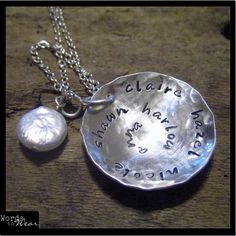 Silver Hand Stamped (up to 48 characters) Hammered Customizable Spiral Necklace/Pendant with Pearl, $45.00