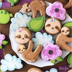 These adorable sloth cookies are perfect for a baby shower or zoo themed party. Tin cutter, measures 3 Made in USA. Birthday Cake Girls, Birthday Cookies, Royal Icing Cookies, Sugar Cookies, Sloth Cakes, Baby Girl Cakes, Cookie Company, Biscuits, Beautiful Birthday Cakes