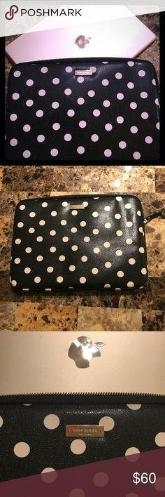 "Kate Spade laptop zip case 13"" Elegant padded case holds 13"" and smaller laptops or  Apple iPad. Kate Spade Gently used. Looks like new! Black leather with off white polka dots and gold zipper. Kate Spade Accessories Laptop Cases"