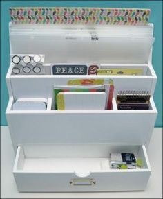 #papercraft #GIVEAWAY! Deadline: 7/7 at Midnight (central)! We're sharing lots of tips, tricks  solutions for #organizing your #Crafting  #Papercrafting supplies and giving you a chance to WIN a $25 shopping code from @goorganize. You could get this Desktop Organizer, perfect for your #ProjectLife  Pocket #Scrapbooking supplies! #organization