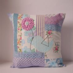 make for ECK~Cushion slip patchwork purple and blues pink flower via Etsy.