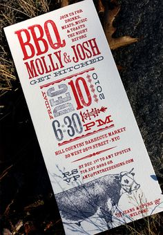 Great BBQ Invite  http://www.invitationcrush.com/wp-content/uploads/2011/01/bbq-rehearsal-dinner-invitations.jpg