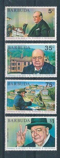 1974 - Barbuda Birth Centenary of Winston Churchill 2nd Issue SG 203/6 MNH #StampsSinglesBlocksMultiples