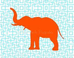 Tangerine Orange Elephant Silhouette on Turquoise Lattice Facing Left Giclee 11x14 via Etsy