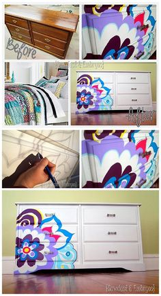 Painted Dresser for Little Girls Room - Projector - Ideas of Projector - Projector Project DIY Step By Step Tutorial Use an overhead projector to paint beautiful designs on furniture or to create decorative artwork! Little Girls Dresser, Girl Dresser, Little Girl Rooms, Diy Furniture Projects, Kids Furniture, Furniture Makeover, Diy Projects, Funky Furniture, Plywood Furniture
