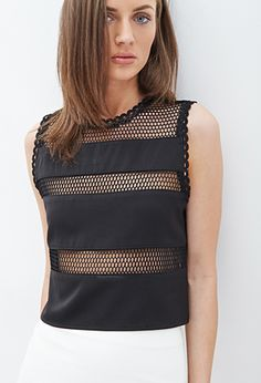 Mesh Striped Top   FOREVER 21 - 2000099857
