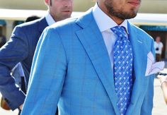 "Light blue suit and tie. ""Tommy Ton's Men's Street Style at Pitti Uomo: Style: GQ. Sharp Dressed Man, Well Dressed Men, Tommy Ton Men, Style Dandy, Men's Style, Style Gentleman, Classic Men, Classic Suit, White Pocket Square"