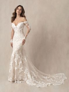 9863 by Allure Bridals shows off a vintage inspired lace and long illusion off the shoulder sleeve Lace Wedding Dress With Sleeves, Wedding Dress Sizes, Lace Sleeves, Pageant Dresses, Bridal Dresses, Bridesmaid Dresses, Designer Gowns, Designer Wedding Dresses, Allure Couture