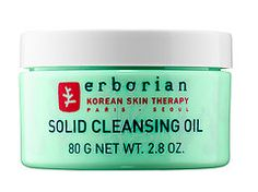 Erborian Solid Cleansing Oil is based on the Korean double cleansing method and combines a cleansing oil with the gentleness of a cream (made up of coconut and sunflower oils and seven Korean herbs).