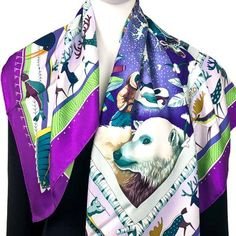 0bf5bfe003b La Vie du Grand Nord Hermes Silk Scarf Purple GRAIL Lenços Hermes