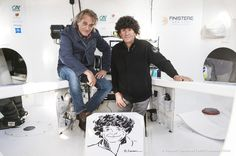 Titouan Lamazou, winner of the 1st Vendée Globe, with Jean Le Cam (FRA), skipper Finistere Mer Vent, and his portrait, in Les Sables d'Olonne, France on October 29th, 2016 - Photo Vincent Curutchet / DPPI / Vendée GlobePortrait de Jean Le Cam (FRA), ski