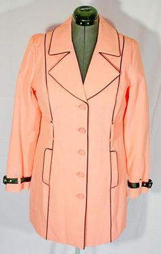 00b9896cd49 New York Company Coral Pink Rain Coat Walker Stroller Button Down London  Look L  NewYorkCompany