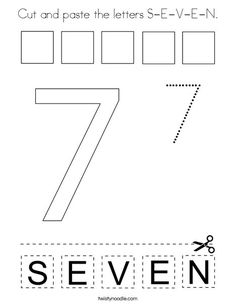 Free cut and paste and trace the number 7 letters s e v e n printable worksheet Numbers Preschool, Learning Numbers, Preschool Math, Preschool Worksheets, Maths, Bible Activities For Kids, Bible For Kids, Math Activities, Zebra Coloring Pages