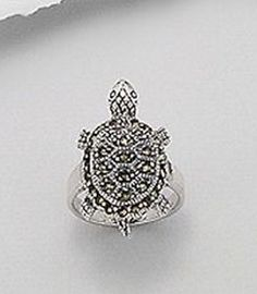 Sterling Silver Marcasite Sea Turtle Ring Nautical Plus Size 9 925 USA Seller #Cocktail