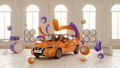 Colorful 3D Graphic Design by Frederico Picci  We recently presented the work of the Italian graphic Federico Picci. He was chosen for the partnership between Fubiz and Nissan for the launch of the new Micra. As a music lover he chose to represent in a very colorful and full of energy way the innovation of the Bose sound system. In a beautiful scenery he placed the car in the center with music instrument and amplifiers. He wanted to show the fun character of the car with abstract shapes that…