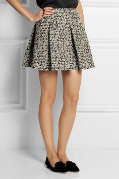 Giambattista Valli Black Pleated Metallic Tweed Mini Skirt