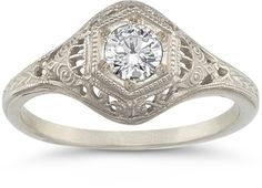 Platinum Antique-Style Diamond Engagement Ring